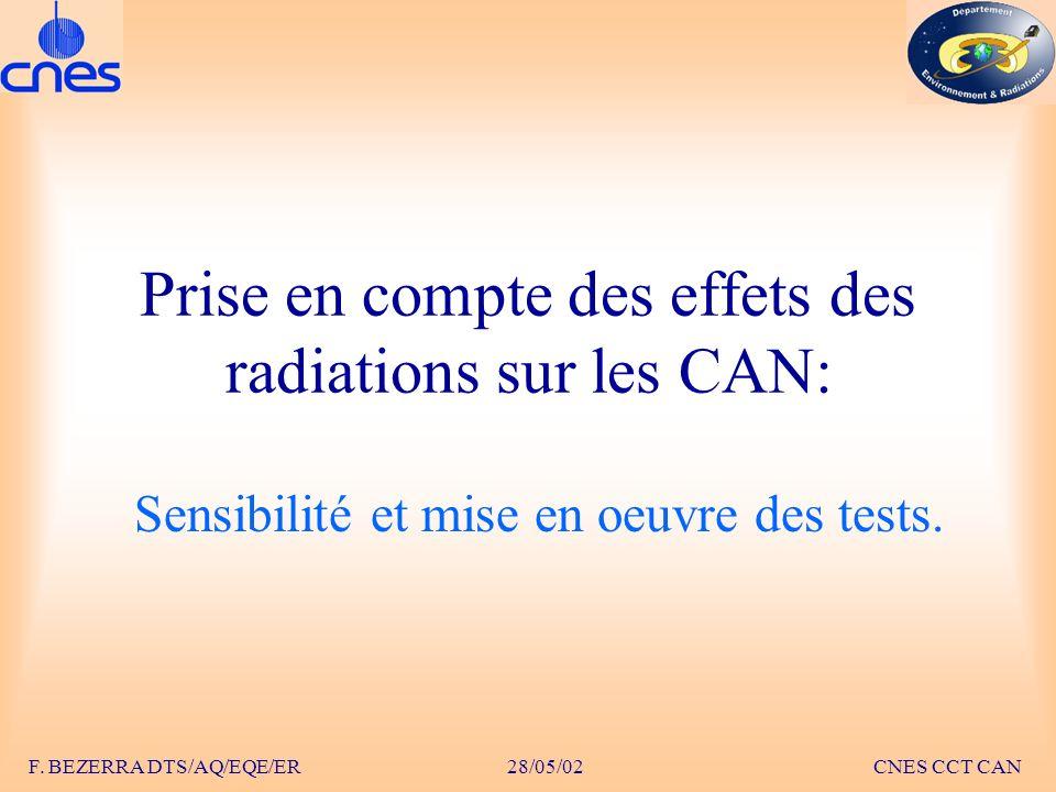 Prise en compte des effets des radiations sur les CAN: Sensibilité et mise en oeuvre des tests. F. BEZERRA DTS/AQ/EQE/ER 28/05/02 CNES CCT CAN