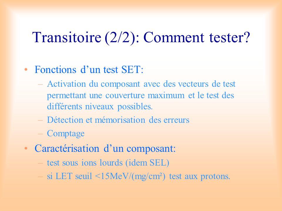 Transitoire (2/2): Comment tester? Fonctions dun test SET: –Activation du composant avec des vecteurs de test permettant une couverture maximum et le