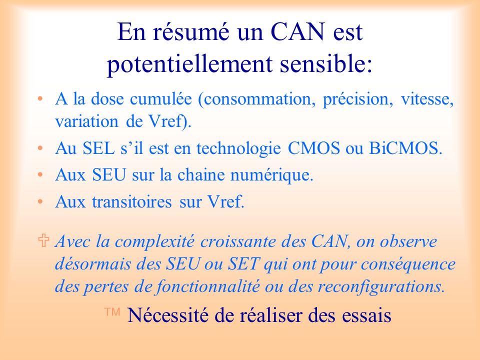 En résumé un CAN est potentiellement sensible: A la dose cumulée (consommation, précision, vitesse, variation de Vref). Au SEL sil est en technologie