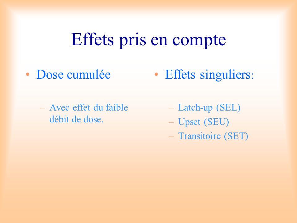Effets pris en compte Dose cumulée –Avec effet du faible débit de dose. Effets singuliers : –Latch-up (SEL) –Upset (SEU) –Transitoire (SET)