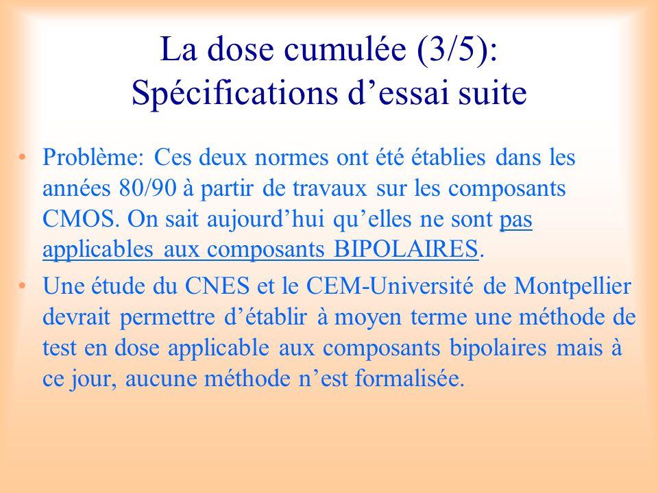 La dose cumulée (3/5): Spécifications dessai suite Problème: Ces deux normes ont été établies dans les années 80/90 à partir de travaux sur les compos