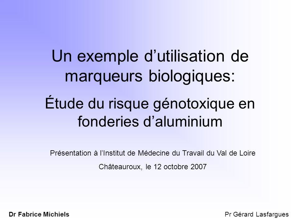 Un exemple dutilisation de marqueurs biologiques: Étude du risque génotoxique en fonderies daluminium Présentation à lInstitut de Médecine du Travail