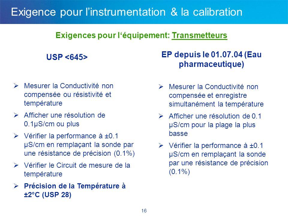 16 Exigences pour léquipement: Transmetteurs USP Mesurer la Conductivité non compensée ou résistivité et température Afficher une résolution de 0.1µS/