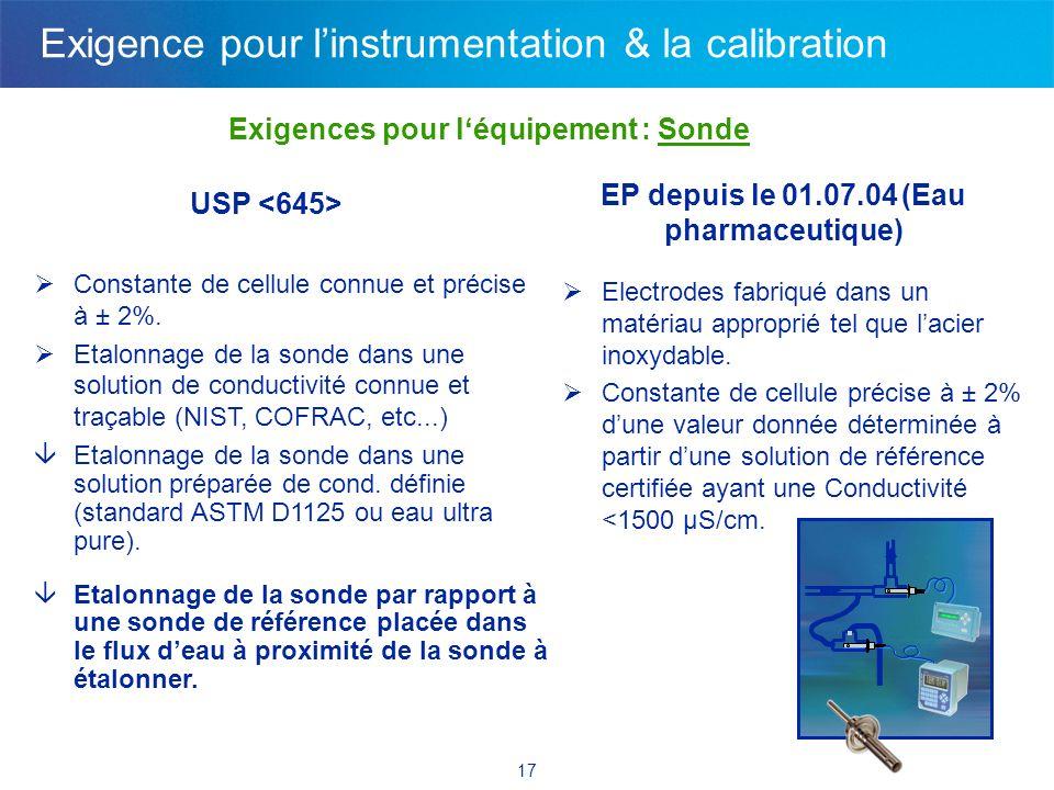 17 Exigences pour léquipement : Sonde USP EP depuis le 01.07.04 (Eau pharmaceutique) Constante de cellule connue et précise à ± 2%. Etalonnage de la s