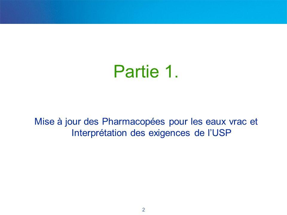 2 Partie 1. Mise à jour des Pharmacopées pour les eaux vrac et Interprétation des exigences de lUSP