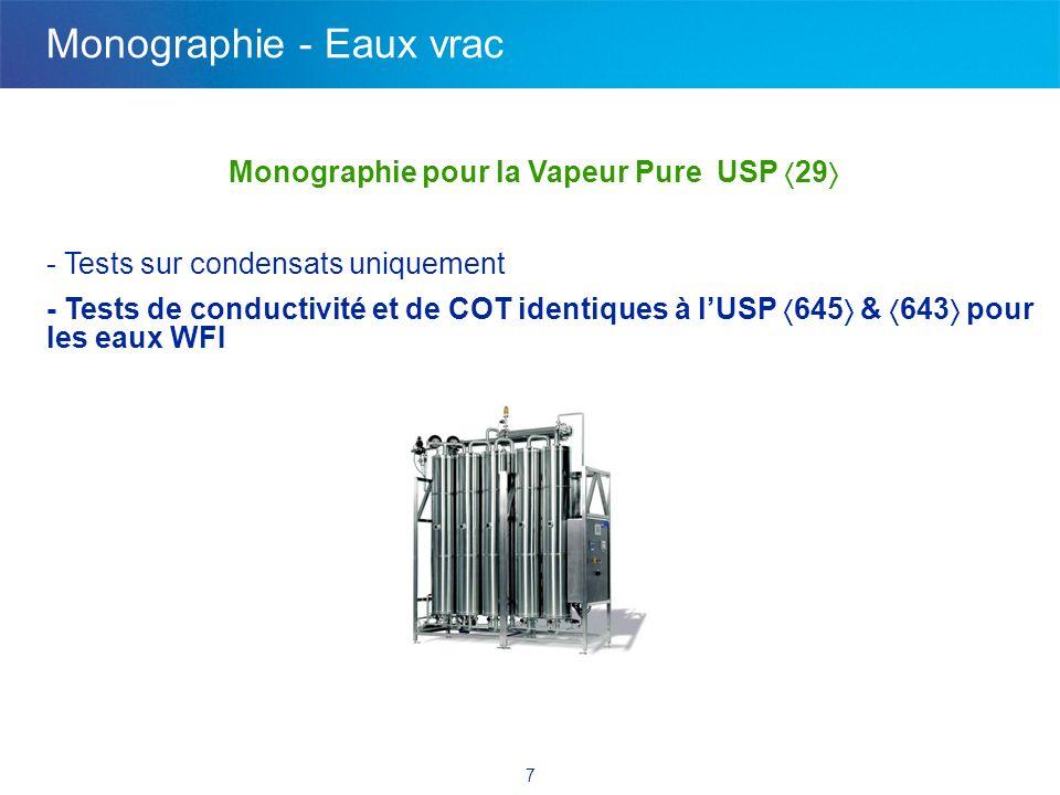 7 Monographie pour la Vapeur Pure USP 29 - Tests sur condensats uniquement - Tests de conductivité et de COT identiques à lUSP 645 & 643 pour les eaux