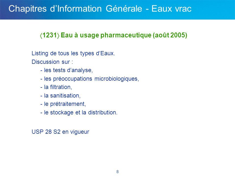 8 1231 Eau à usage pharmaceutique (août 2005) Listing de tous les types dEaux. Discussion sur : - les tests danalyse, - les préoccupations microbiolog