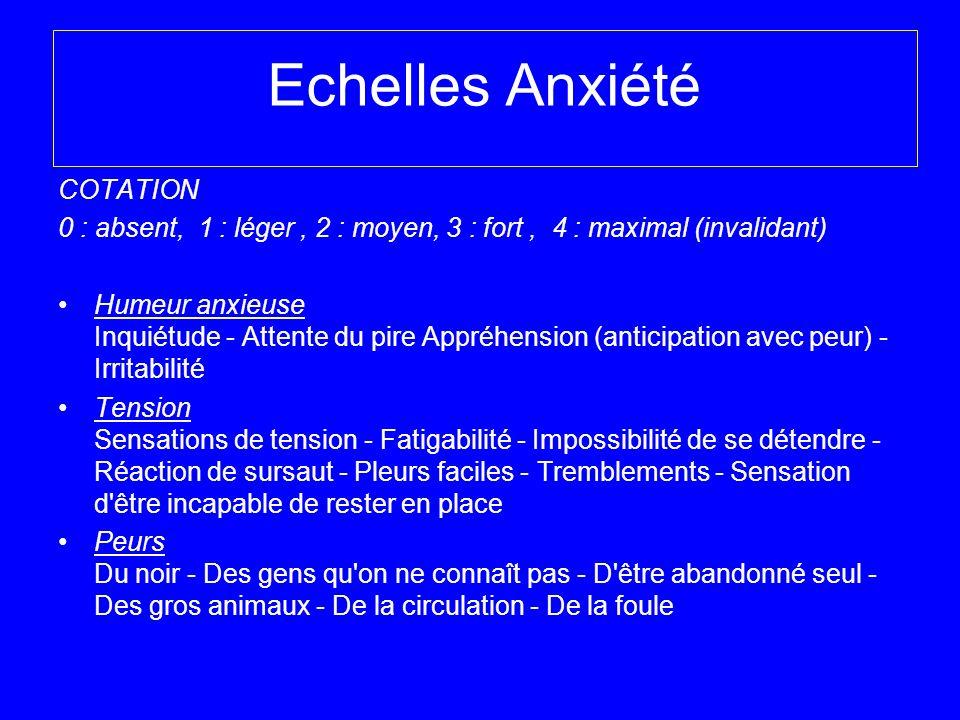 Echelles Anxiété COTATION 0 : absent, 1 : léger, 2 : moyen, 3 : fort, 4 : maximal (invalidant) Humeur anxieuse Inquiétude - Attente du pire Appréhensi