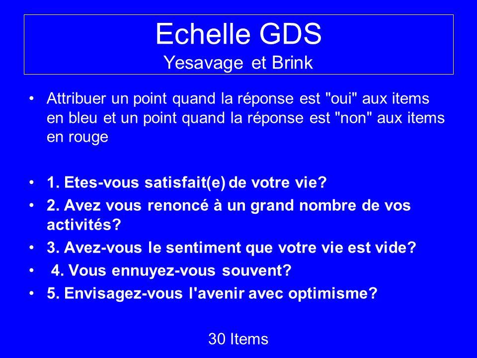 Echelle GDS Yesavage et Brink Attribuer un point quand la réponse est