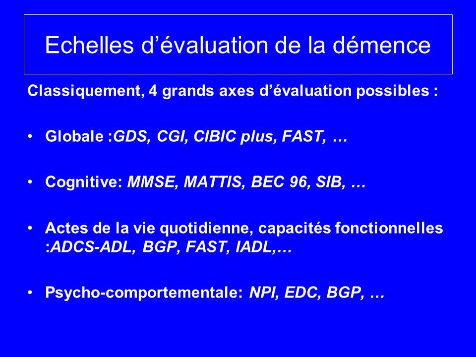 Echelles dévaluation de la démence Classiquement, 4 grands axes dévaluation possibles : Globale :GDS, CGI, CIBIC plus, FAST, … Cognitive: MMSE, MATTIS
