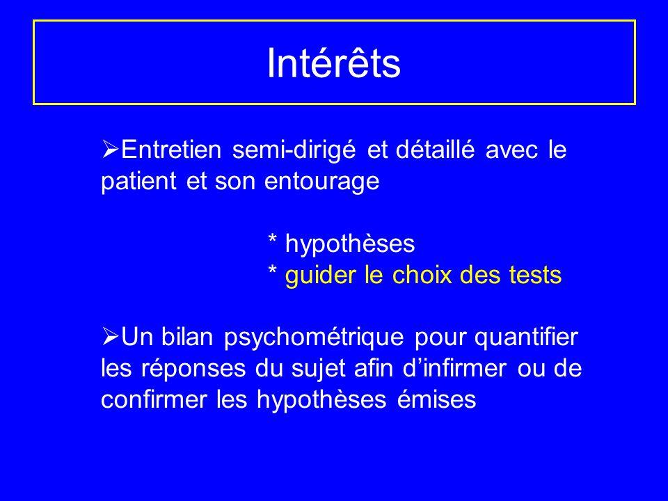 Intérêts Entretien semi-dirigé et détaillé avec le patient et son entourage * hypothèses * guider le choix des tests Un bilan psychométrique pour quan