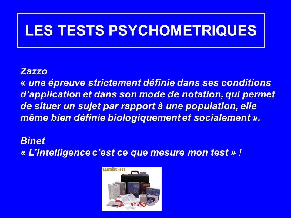 LES TESTS PSYCHOMETRIQUES Zazzo « une épreuve strictement définie dans ses conditions dapplication et dans son mode de notation, qui permet de situer