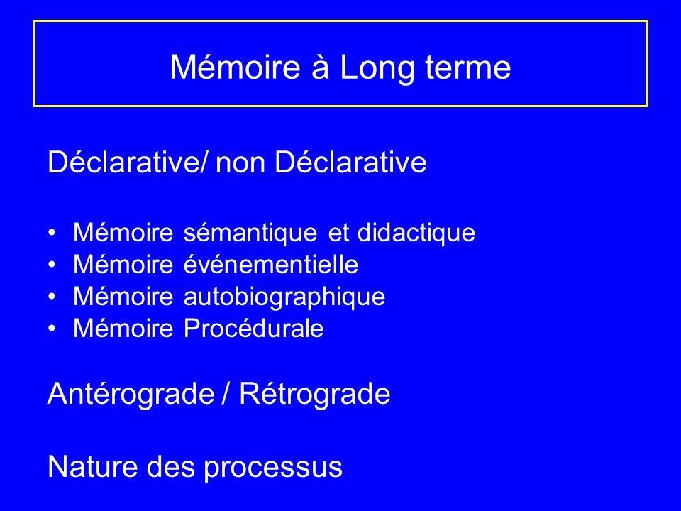 Mémoire à Long terme Déclarative/ non Déclarative Mémoire sémantique et didactique Mémoire événementielle Mémoire autobiographique Mémoire Procédurale