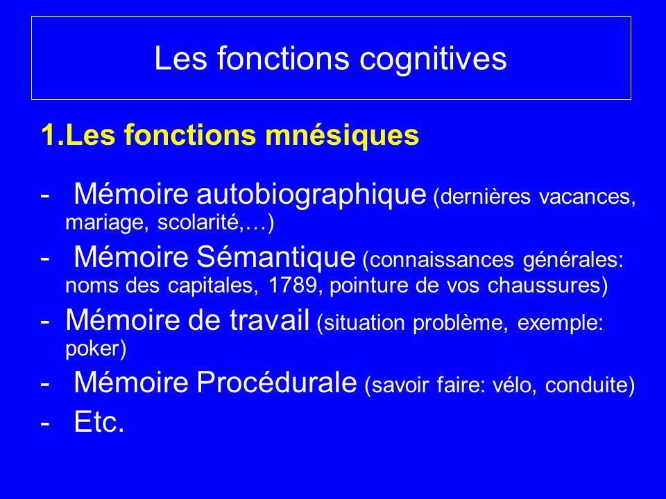 Les fonctions cognitives 1.Les fonctions mnésiques - Mémoire autobiographique (dernières vacances, mariage, scolarité,…) - Mémoire Sémantique (connais