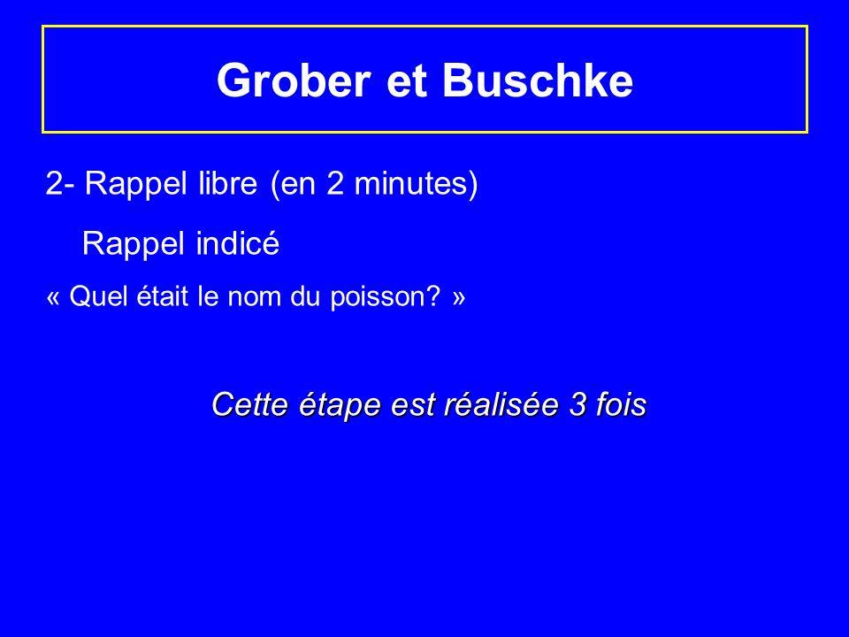 Grober et Buschke 2- Rappel libre (en 2 minutes) Rappel indicé « Quel était le nom du poisson? » Cette étape est réalisée 3 fois Cette étape est réali