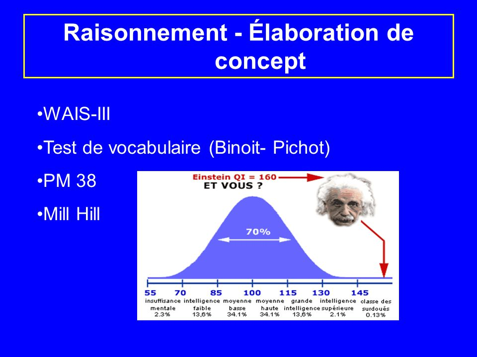 Raisonnement - Élaboration de concept WAIS-III Test de vocabulaire (Binoit- Pichot) PM 38 Mill Hill