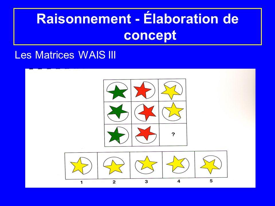 Raisonnement - Élaboration de concept Les Matrices WAIS III