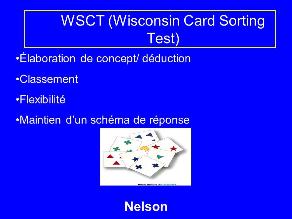 WSCT (Wisconsin Card Sorting Test) Élaboration de concept/ déduction Classement Flexibilité Maintien dun schéma de réponse Nelson