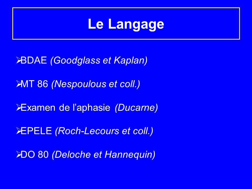Le Langage BDAE (Goodglass et Kaplan) MT 86 (Nespoulous et coll.) Examen de laphasie (Ducarne) EPELE (Roch-Lecours et coll.) DO 80 (Deloche et Hannequ
