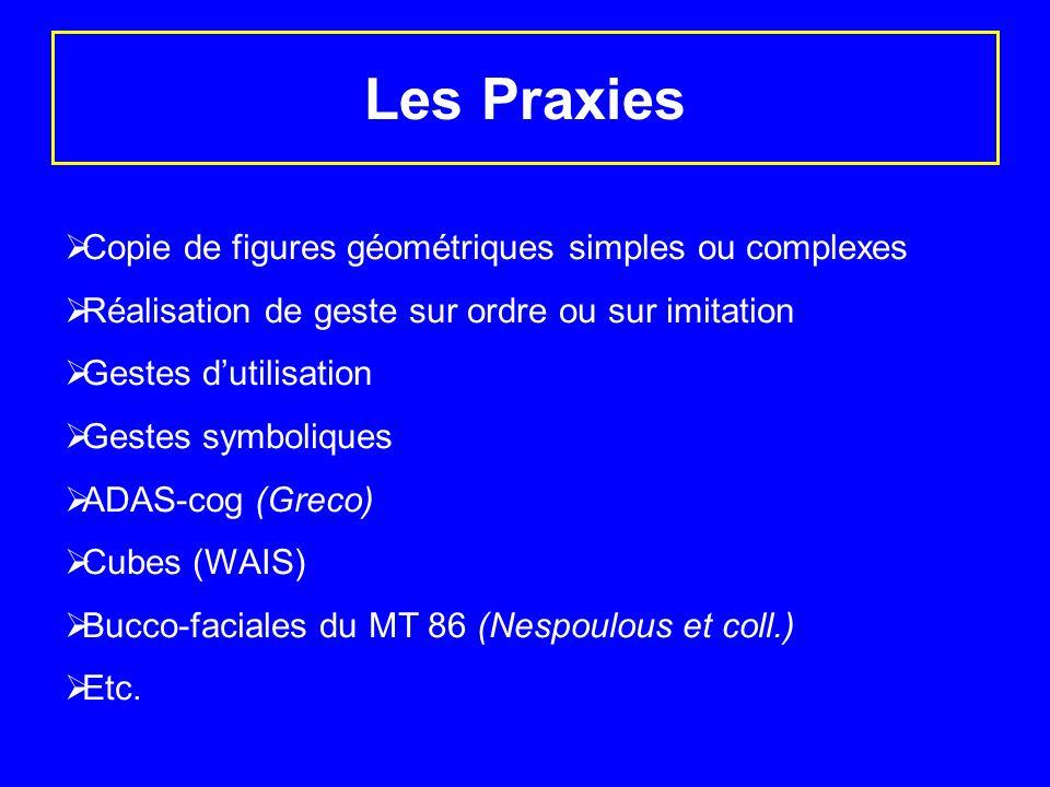Les Praxies Copie de figures géométriques simples ou complexes Réalisation de geste sur ordre ou sur imitation Gestes dutilisation Gestes symboliques