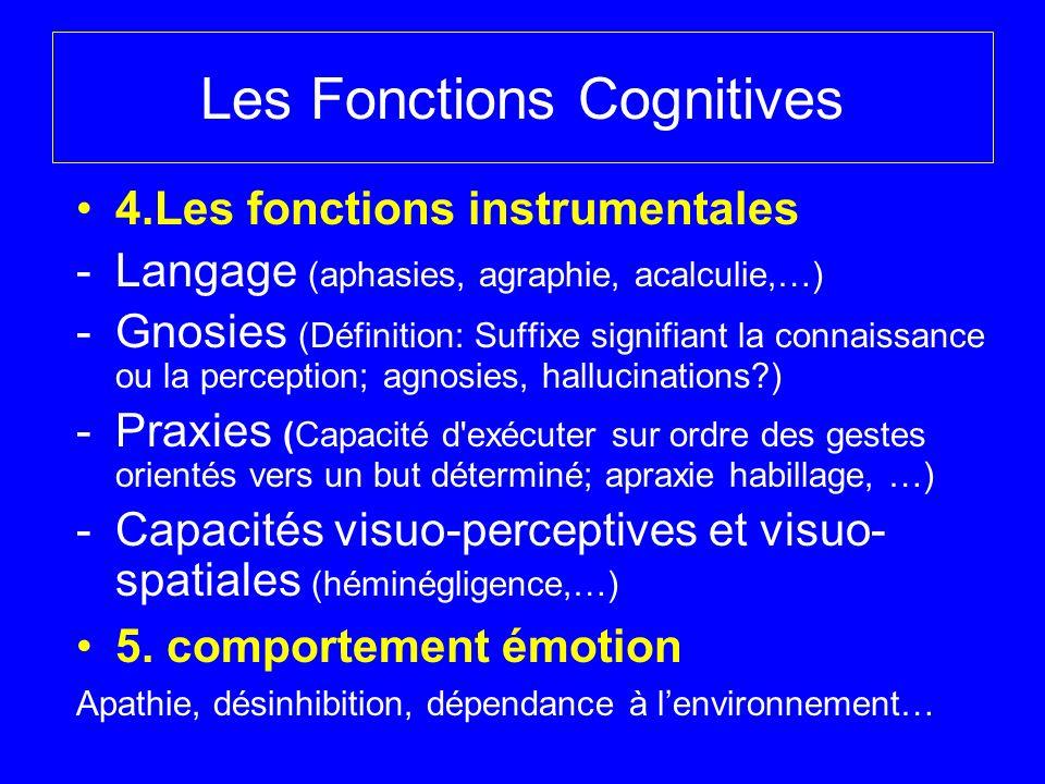 Les Fonctions Cognitives 4.Les fonctions instrumentales -Langage (aphasies, agraphie, acalculie,…) -Gnosies (Définition: Suffixe signifiant la connais