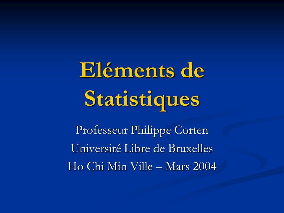 Eléments de Statistiques Professeur Philippe Corten Université Libre de Bruxelles Ho Chi Min Ville – Mars 2004
