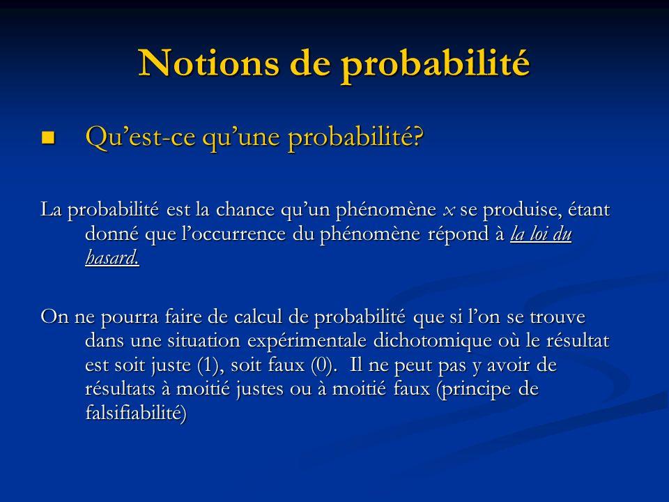 Notions de probabilité Quoiquil en soit un test ne donne jamais le sens du lien.