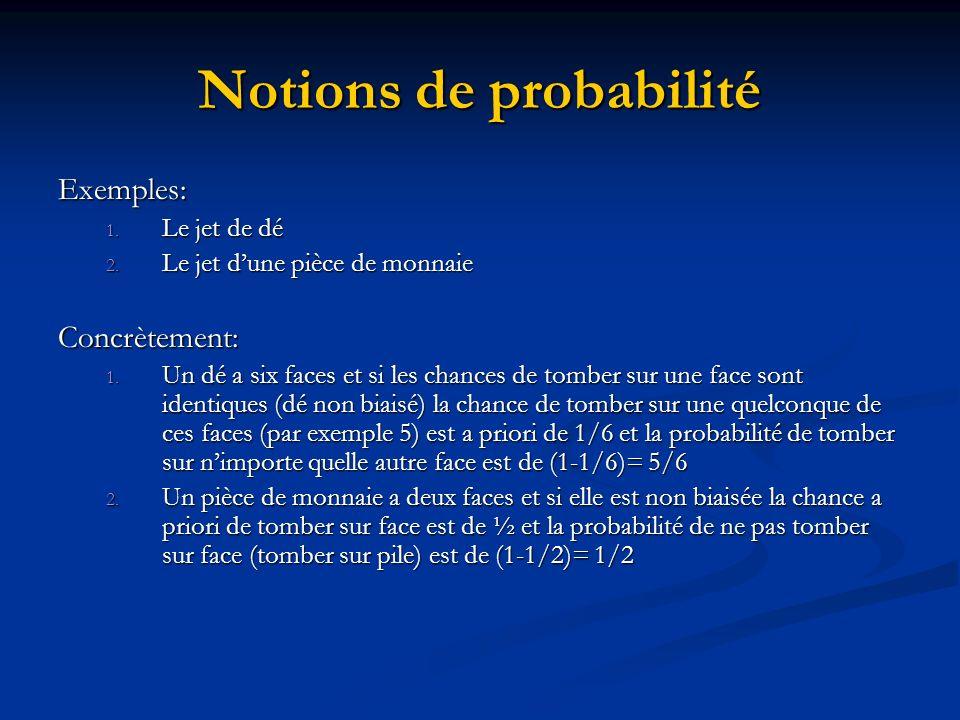 Notions de probabilité Exemples: 1.Le jet de dé 2.