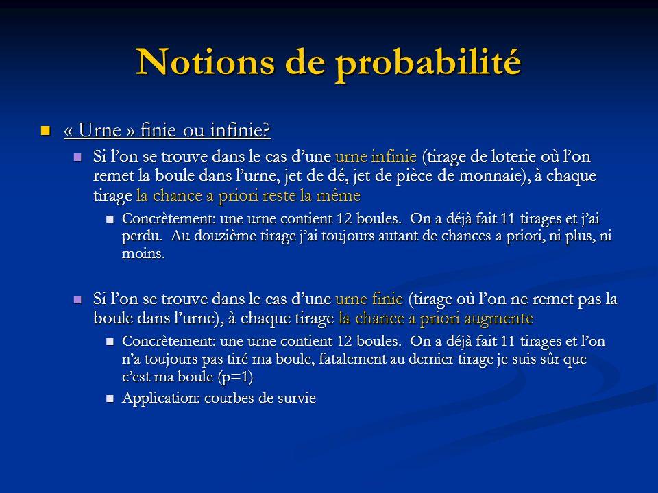 Notions de probabilité « Urne » finie ou infinie.« Urne » finie ou infinie.