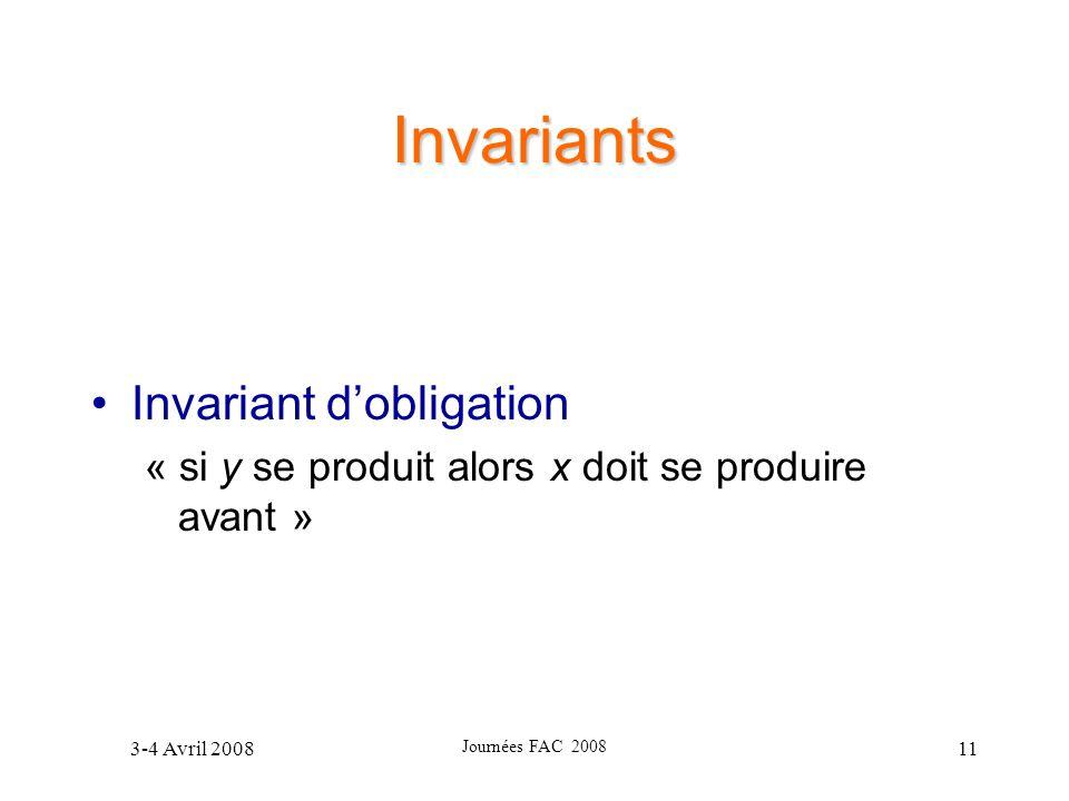 3-4 Avril 2008 Journées FAC 2008 11 Invariants Invariant dobligation « si y se produit alors x doit se produire avant »