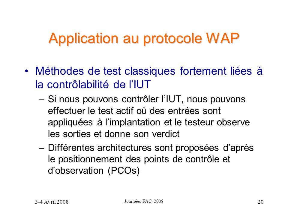 3-4 Avril 2008 Journées FAC 2008 20 Application au protocole WAP Méthodes de test classiques fortement liées à la contrôlabilité de lIUT –Si nous pouv