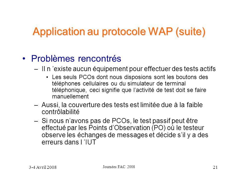 3-4 Avril 2008 Journées FAC 2008 21 Application au protocole WAP (suite) Problèmes rencontrés –Il n existe aucun équipement pour effectuer des tests a