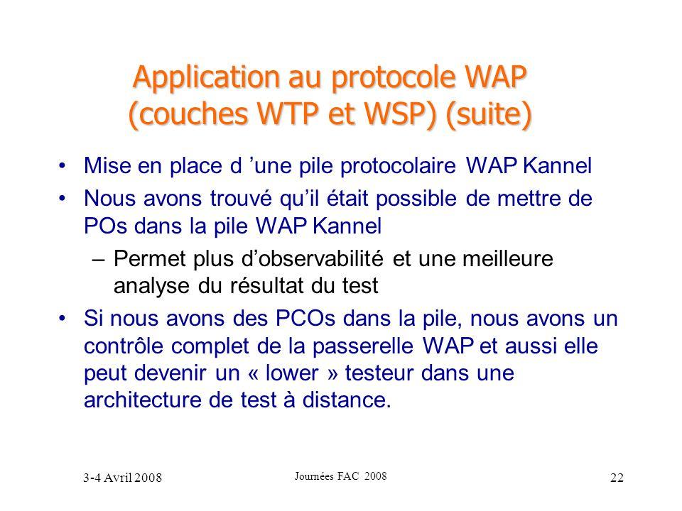 3-4 Avril 2008 Journées FAC 2008 22 Application au protocole WAP (couches WTP et WSP) (suite) Mise en place d une pile protocolaire WAP Kannel Nous av