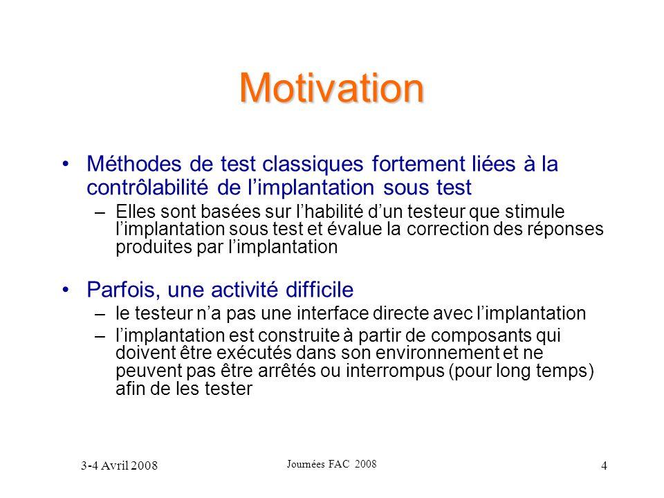 3-4 Avril 2008 Journées FAC 2008 55 Exemple I.2) Recherche des configurations antérieures possibles: State: A; Parameters: cur = SYM, obsЄAsymList State: S; Parameters: cur = SYM State: M; Parameters: cur = SYM, obs Є MprList II.1) On recommence le procédé sur la transition précédente ( UpdateTimer )