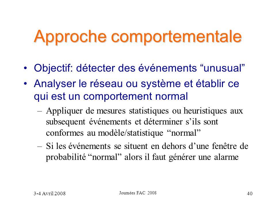 3-4 Avril 2008 Journées FAC 2008 40 Approche comportementale Objectif: détecter des événements unusual Analyser le réseau ou système et établir ce qui