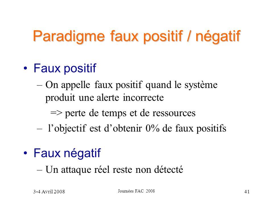 3-4 Avril 2008 Journées FAC 2008 41 Paradigme faux positif / négatif Faux positif –On appelle faux positif quand le système produit une alerte incorre