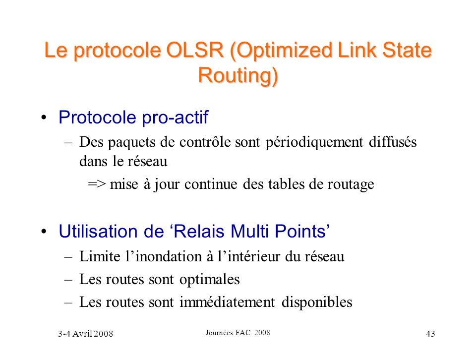 3-4 Avril 2008 Journées FAC 2008 43 Le protocole OLSR (Optimized Link State Routing) Protocole pro-actif –Des paquets de contrôle sont périodiquement