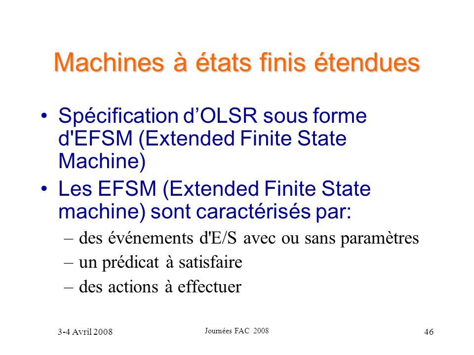 3-4 Avril 2008 Journées FAC 2008 46 Machines à états finis étendues Spécification dOLSR sous forme d'EFSM (Extended Finite State Machine) Les EFSM (Ex
