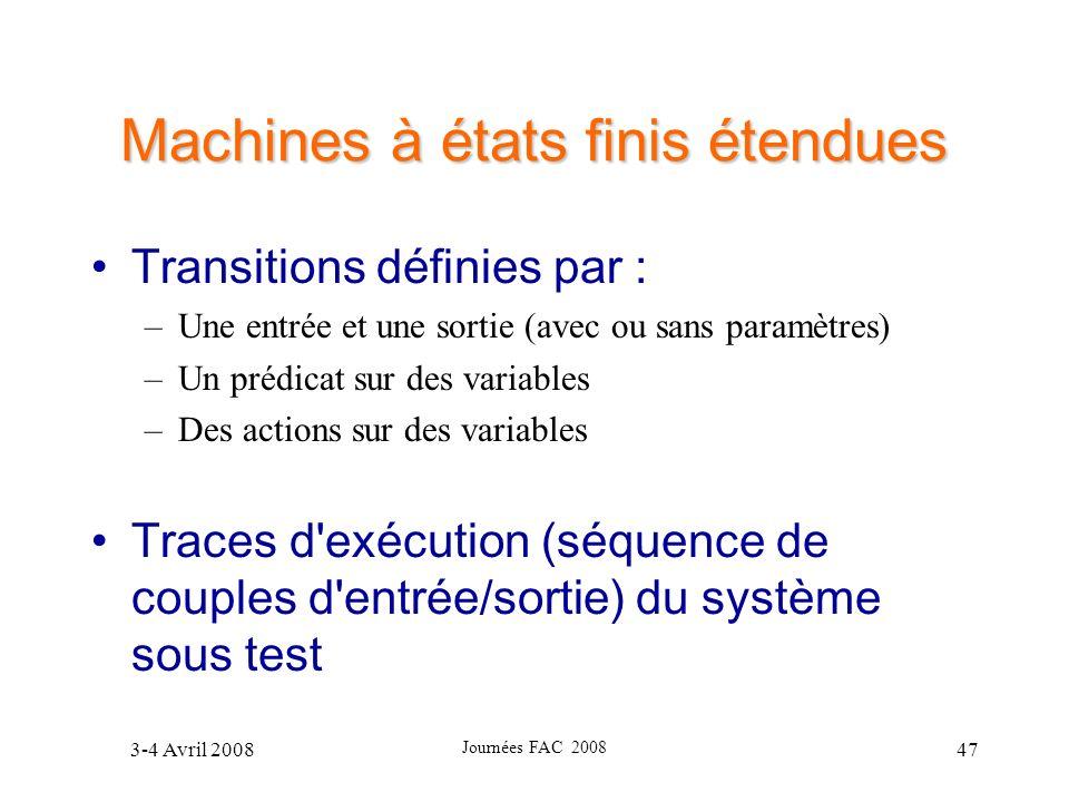 3-4 Avril 2008 Journées FAC 2008 47 Machines à états finis étendues Transitions définies par : –Une entrée et une sortie (avec ou sans paramètres) –Un