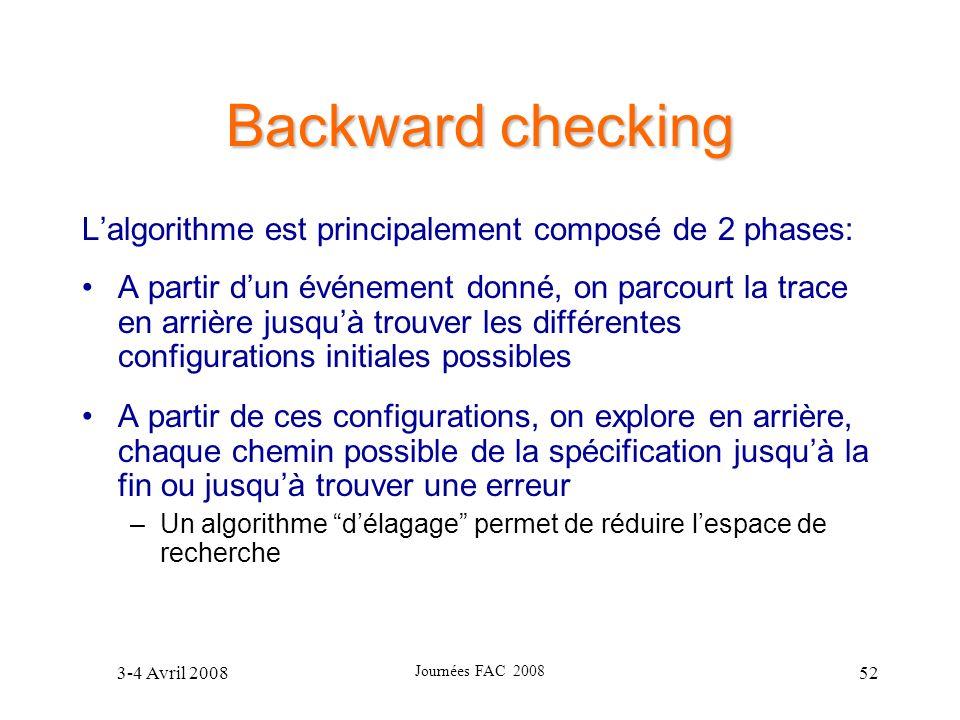 3-4 Avril 2008 Journées FAC 2008 52 Backward checking Lalgorithme est principalement composé de 2 phases: A partir dun événement donné, on parcourt la