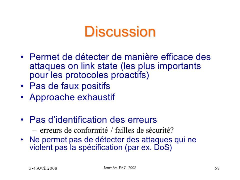 3-4 Avril 2008 Journées FAC 2008 58 Discussion Permet de détecter de manière efficace des attaques on link state (les plus importants pour les protoco