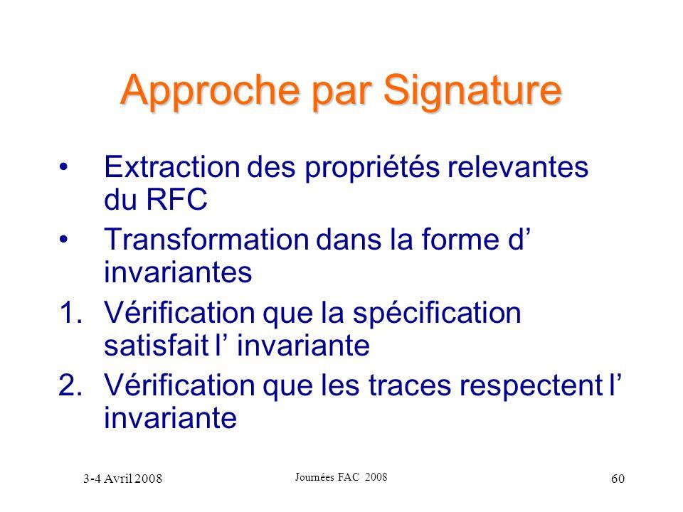 3-4 Avril 2008 Journées FAC 2008 60 Approche par Signature Extraction des propriétés relevantes du RFC Transformation dans la forme d invariantes 1.Vé