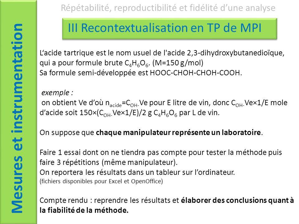 Mesures et instrumentation Répétabilité, reproductibilité et fidélité dune analyse III Recontextualisation en TP de MPI Lacide tartrique est le nom usuel de l acide 2,3-dihydroxybutanedioïque, qui a pour formule brute C 4 H 6 O 6.