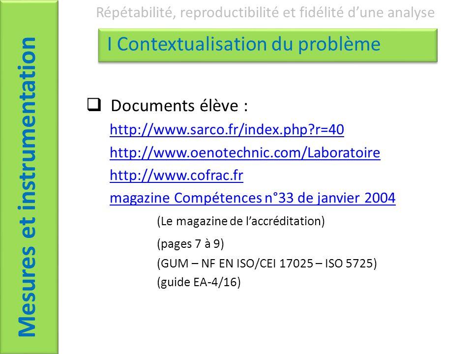 Documents élève : http://www.sarco.fr/index.php?r=40 http://www.oenotechnic.com/Laboratoire http://www.cofrac.fr magazine Compétences n°33 de janvier 2004 (Le magazine de laccréditation) (pages 7 à 9) (GUM – NF EN ISO/CEI 17025 – ISO 5725) (guide EA-4/16) Mesures et instrumentation Répétabilité, reproductibilité et fidélité dune analyse I Contextualisation du problème