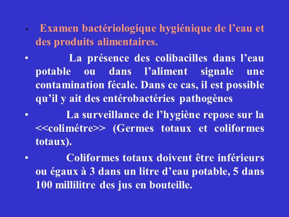 Examen bactériologique hygiénique de leau et des produits alimentaires. La présence des colibacilles dans leau potable ou dans laliment signale une co