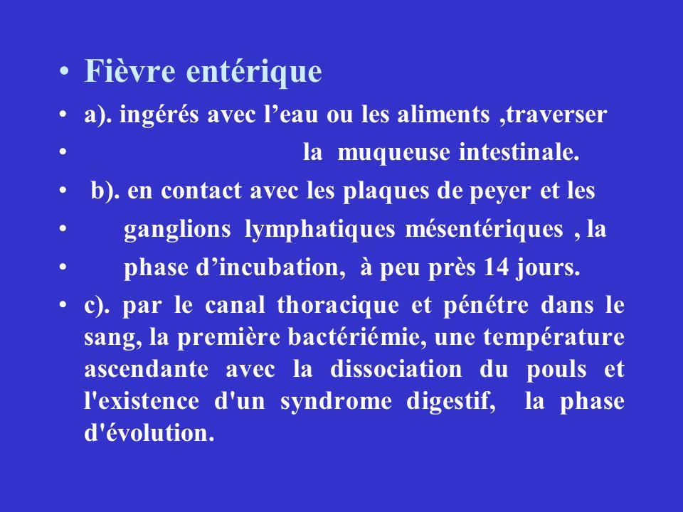 Fièvre entérique a). ingérés avec leau ou les aliments,traverser la muqueuse intestinale. b). en contact avec les plaques de peyer et les ganglions ly