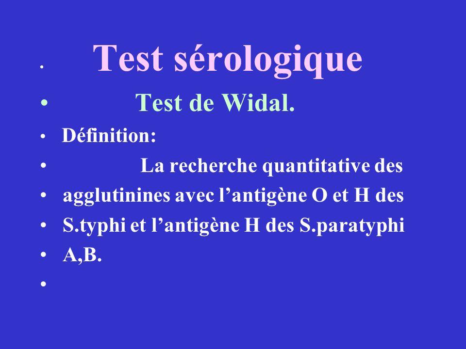 Test sérologique Test de Widal. Définition: La recherche quantitative des agglutinines avec lantigène O et H des S.typhi et lantigène H des S.paratyph
