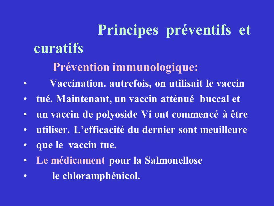 Principes préventifs et curatifs Prévention immunologique: Vaccination. autrefois, on utilisait le vaccin tué. Maintenant, un vaccin atténué buccal et