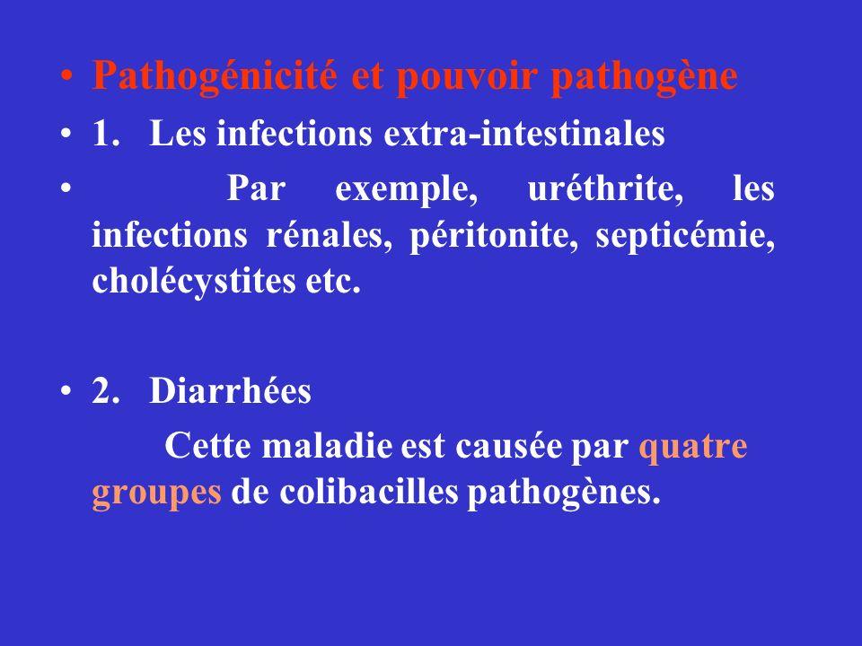 Pathogénicité et pouvoir pathogène 1. Les infections extra-intestinales Par exemple, uréthrite, les infections rénales, péritonite, septicémie, choléc