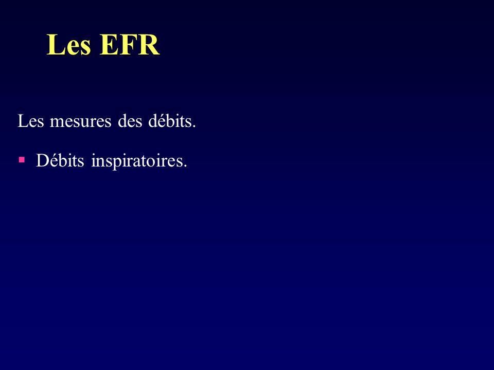 Les mesures des débits. Débits inspiratoires. Les EFR
